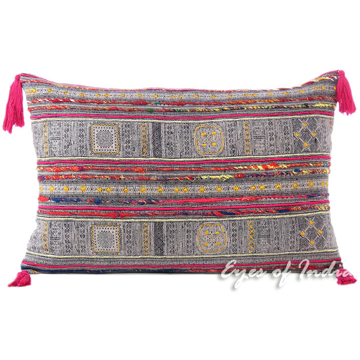 Pink Black Hmong Embroidered Bolster Long Lumbar Pillow Cushion Colorful Throw Sofa Cover - 16 X 24""
