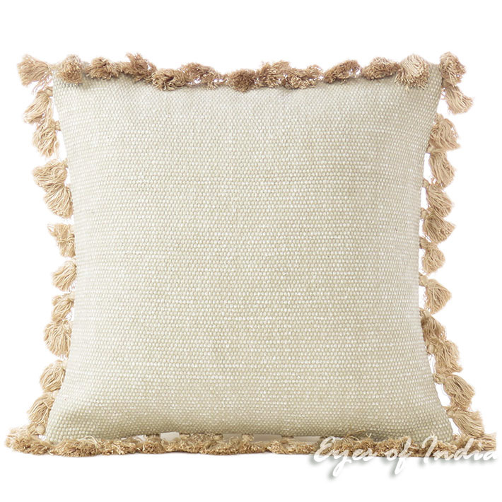 Cream Beige Decorative Cotton Dhurrie Cushion Sofa Pillow Throw Cover - 16""