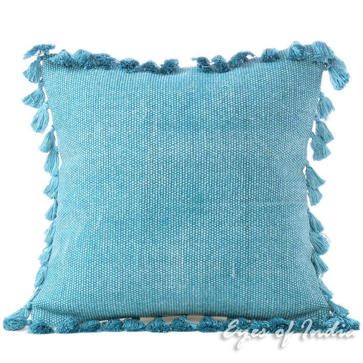 """Blue Cotton Colorful Decorative Dhurrie Sofa Throw Couch Pillow Cushion Cover - 16"""""""