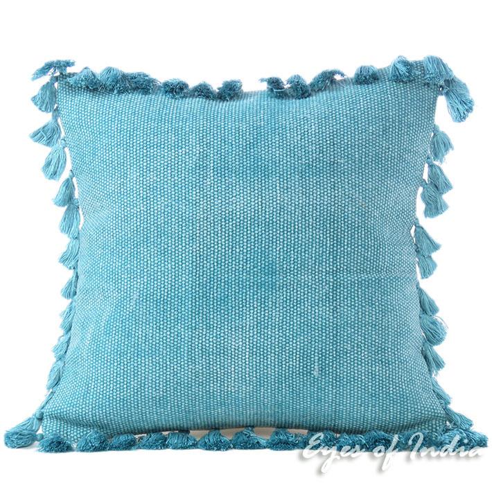 """Blue Cotton Decorative Dhurrie Sofa Throw Pillow Cushion Cover - 16"""""""