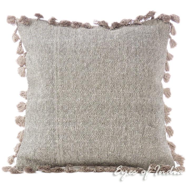 "Brown Grey Decorative Cotton Sofa Cushion Pillow Throw Cover - 16"""