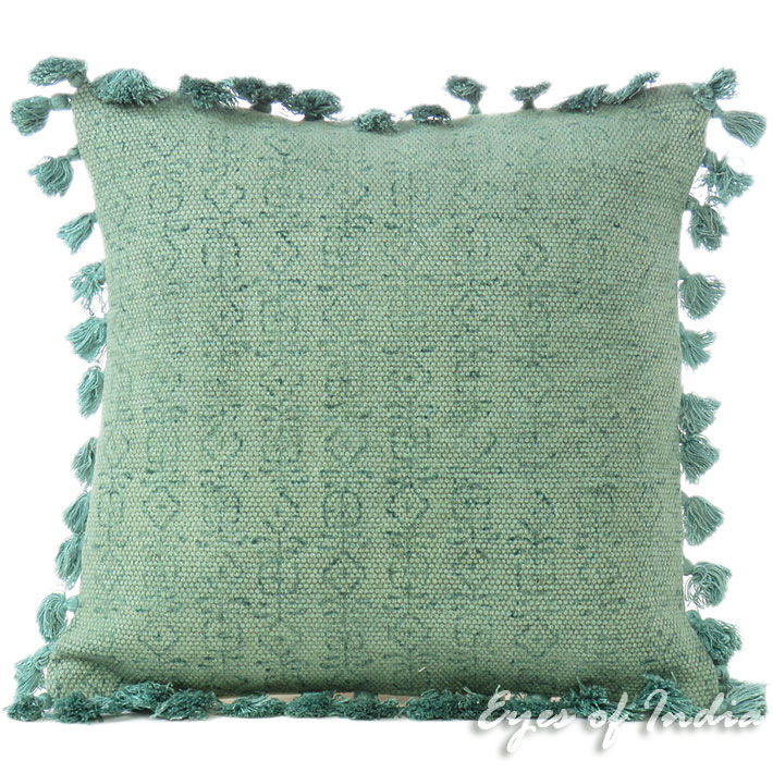 Green Cotton Colorful Decorative Dhurrie Tassels Cushion Sofa Pillow Throw Cover - 16""