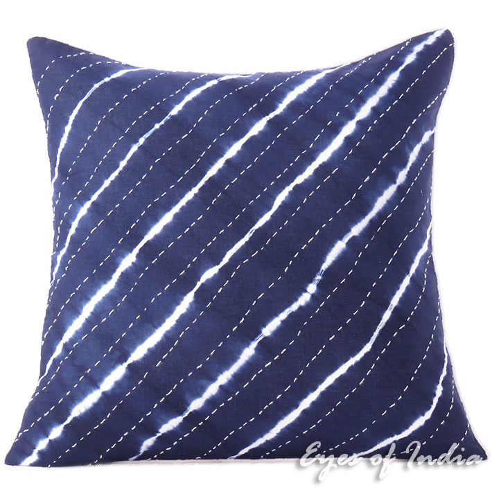 Indigo Blue Boho Kantha Cushion Bohemian Colorful Decorative Shibori Couch Pillow Throw Cover Sofa - 20""