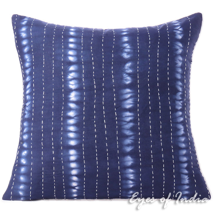 Indigo Blue Kantha Cushion Shibori Boho Pillow Bohemian Decorative Throw Cover - 20""