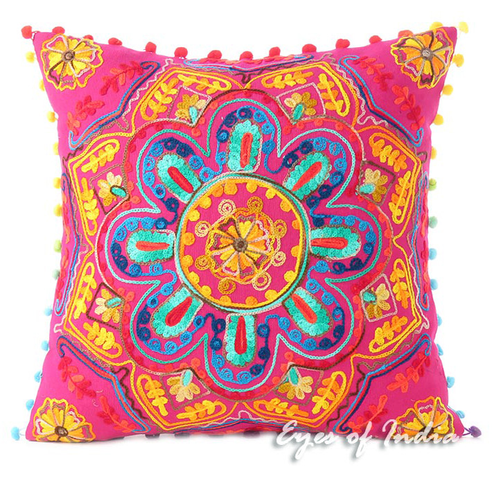Pink Embroidered Colorful Decorative Boho Throw Pillow Bohemian Couch Sofa Cushion Cover - 16""