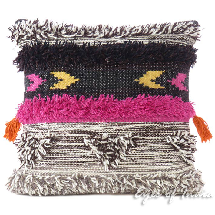 """Gray Pink Decorative Embroidered Tassel Cushion Woven Tufted Fringe Pillow Sofa Throw Cover - 20"""""""
