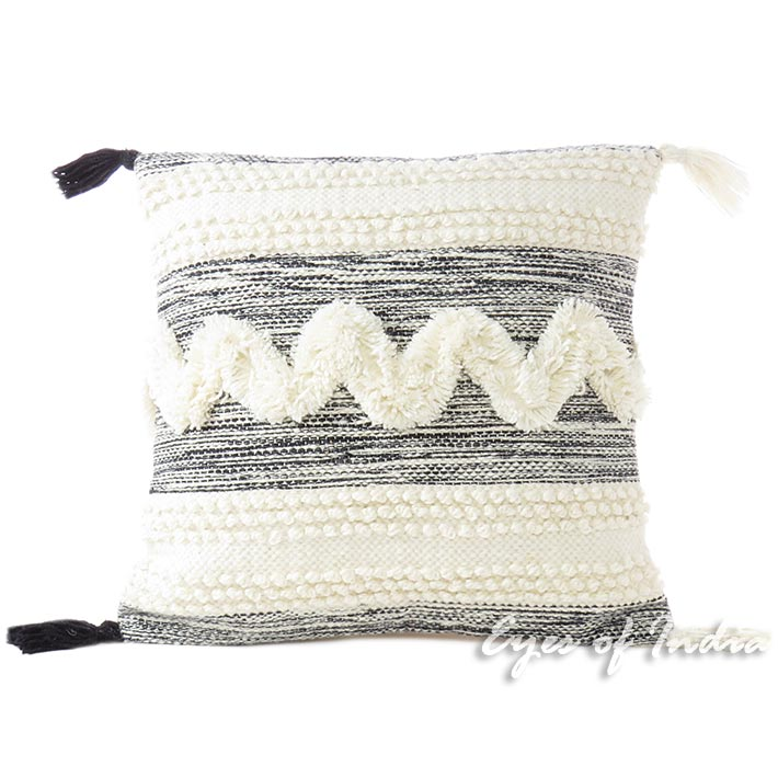 White Black Colorful Tufted Tassel Wool Embroidered on Cotton Cushion Woven Fringe Pillow Sofa Throw Cover - 20""