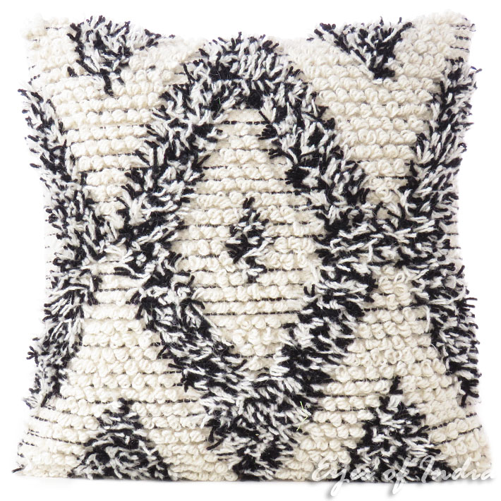 Black White Woven Tufted Tassel Cushion Fringe Sofa Throw Bohemian  Embroidered Pillow Cover - 20""