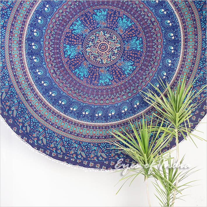 Roundie Beach Throw Picnic Mat Spread Hippie Mandala Tapestry Boho Bohemian - 80""