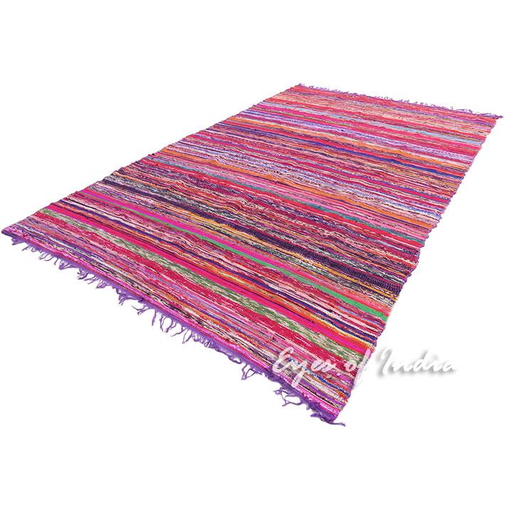 "Purple Decorative Colorful Boho Bohemian Chindi Woven Area Rag Rug - 5 X 8"""