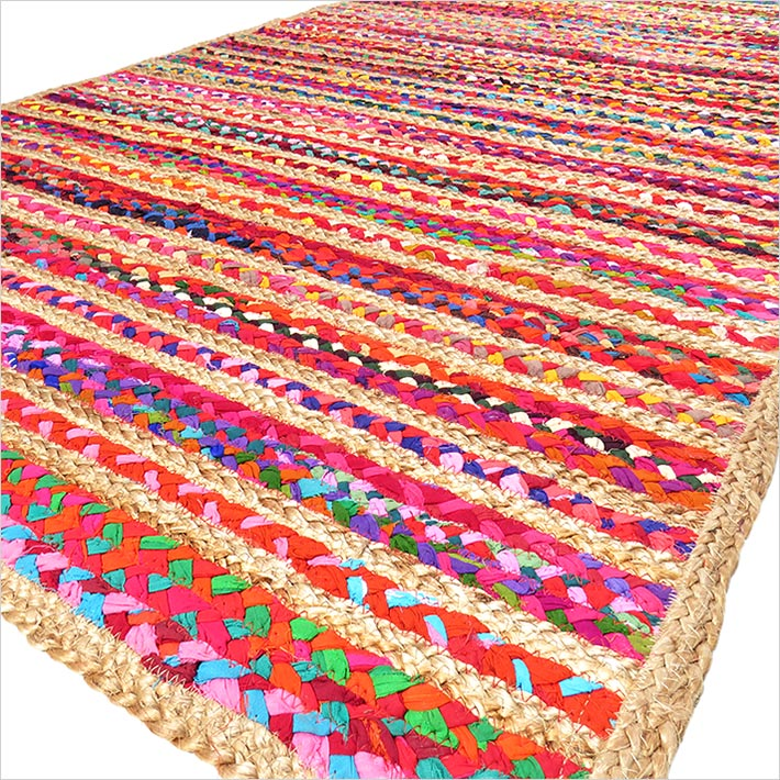 Colorful Striped Woven Jute Chindi Braided Area Decorative Rag Rug - 3 X 5 ft
