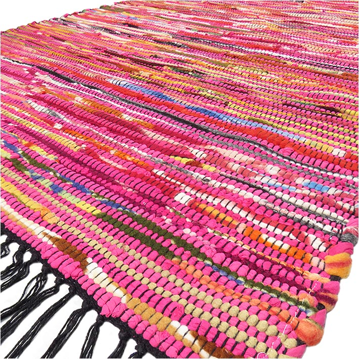 Pink Decorative Colorful Woven Chindi Boho Bohemian Rag Rug - 3 X 5 ft