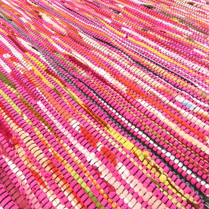 Pink Bohemian Rug, Bright Pink Rag Rug