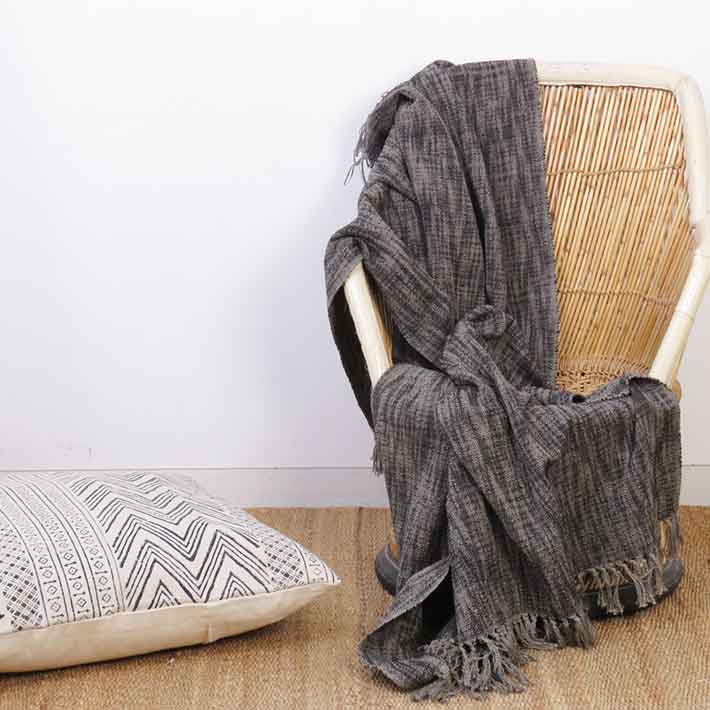 Grey Khadi Lightweight Throw Textured Blanket with Fringe for Bed Sofa Couch - 50 X 70""