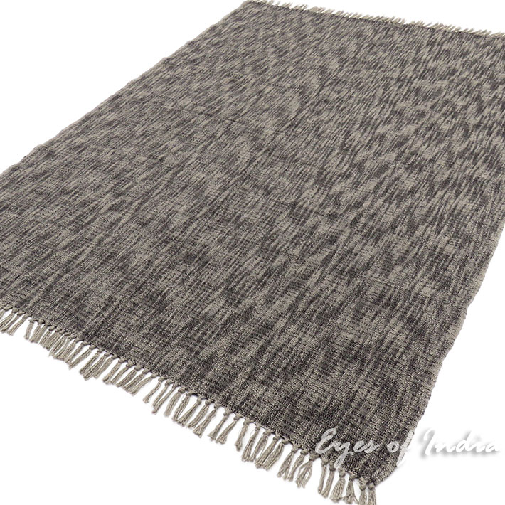 Grey Lightweight Throw Textured Blanket with Fringe for Bed Sofa Couch - 50  X 70\