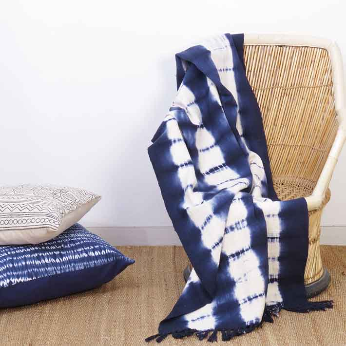 Blue Indigo Striped Tie Dye Lightweight Throw Textured Blanket with Fringe for Bed Sofa Couch - 50 X 70""