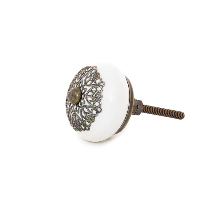 White Round Ceramic Cabinet Door Dresser Cupboard Knobs Pull Shabby Chic Decorat