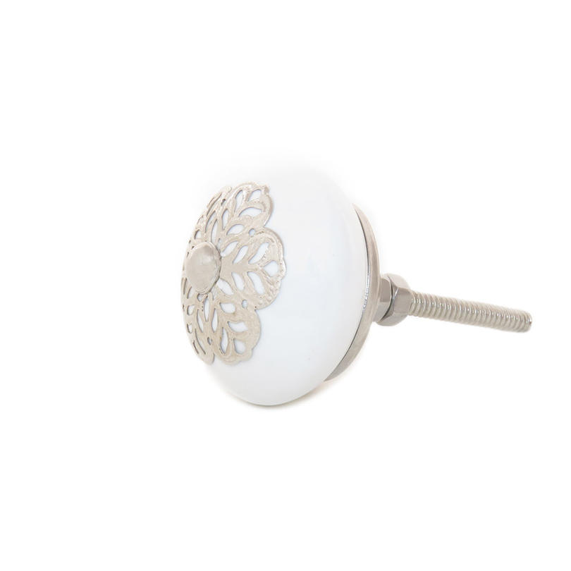 White Round Ceramic Cabinet Door Dresser Cupboard Knobs Pull Shabby Chic Colorful Boho Bohemian