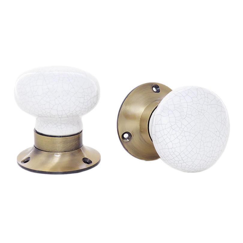 Set of 2 Mortice Ceramic Door Knobs, Boho Dresser Drawer Pulls, Decorative Shabby Chic Knobs, Bohemian Handmade Pulls, Off-White