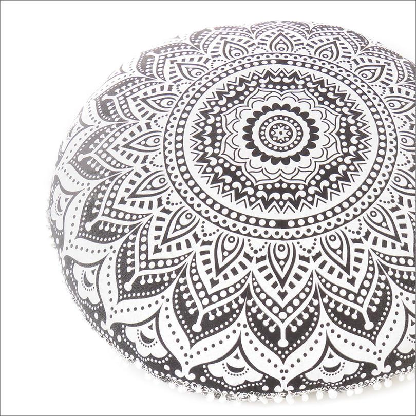 "Black & White Round Ombre Meditation Floor Pillow Cover Boho Throw - 32"""