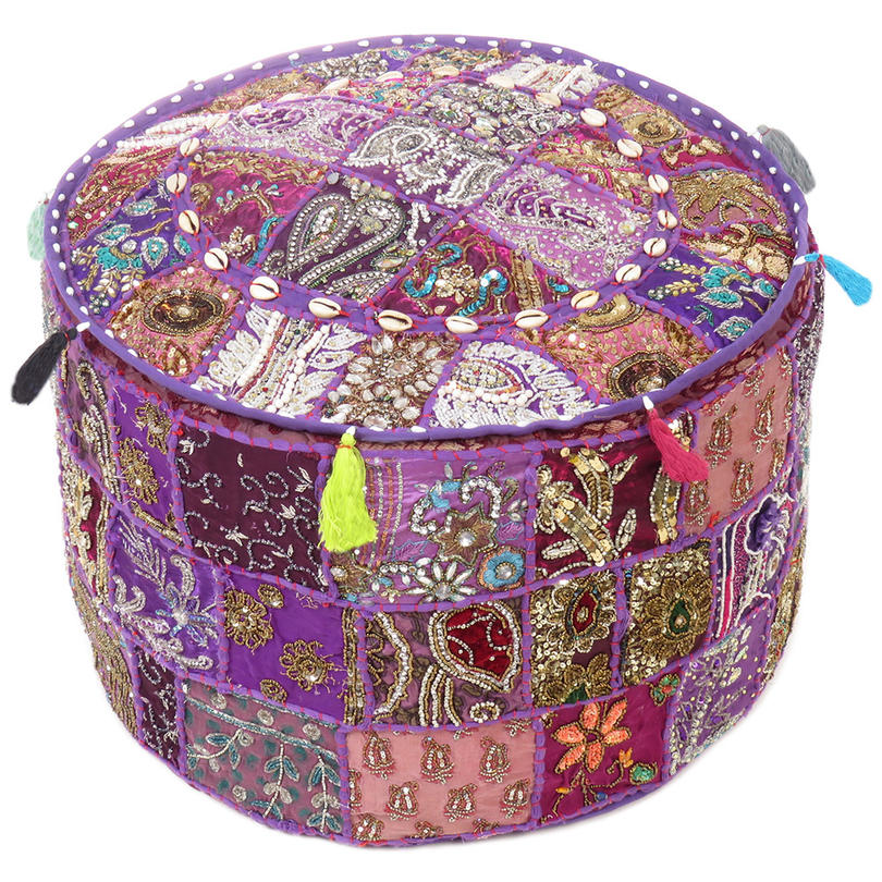 Miraculous Purple Patchwork Round Ottoman Boho Bohemian Pouf Pouffe Cover With Shells 22 X 12 Uwap Interior Chair Design Uwaporg