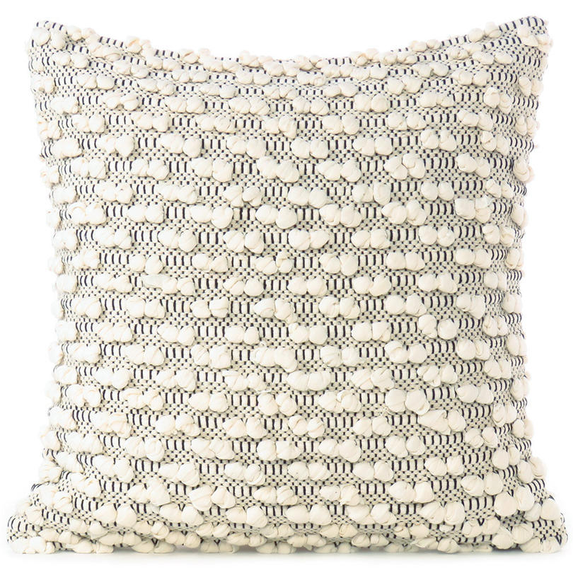 "20"" Black White Cream Woven Tufted Tassel Cushion Pillow Cover Fringe Sofa Couch"