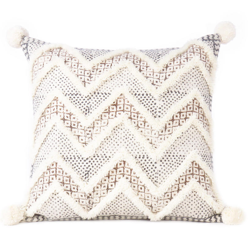 """Brown Black Embroidered Cushion Pillow Woven Tufted Colorful Fringe Sofa Couch Throw Bohemian Cover - 18"""""""