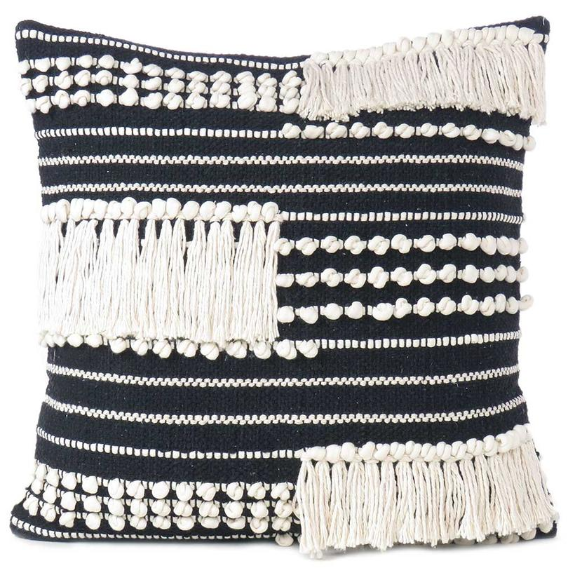 "20"" Black White Woven Tufted Colorful Cushion Cover Case Fringe Pillow Sofa Couch Throw Bohemian Accent Embroidered Handmade"