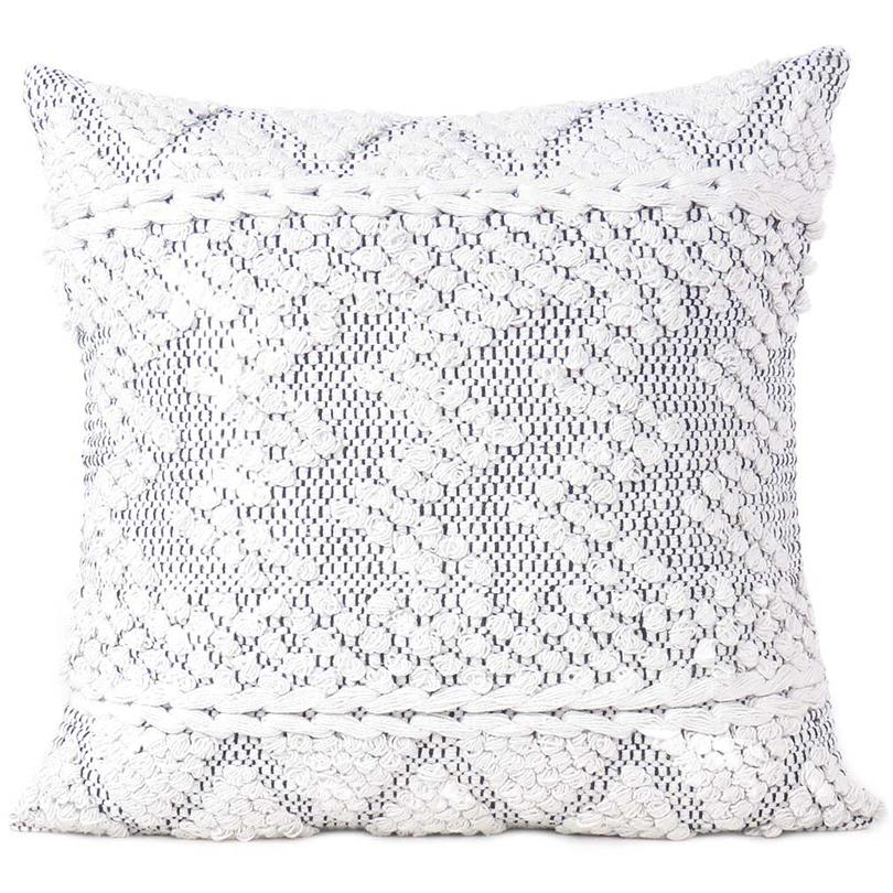 "20"" White Black Woven Tufted Tassel Cushion Cover Fringe Pillow Sofa Couch Throw Boho Chic Embroidery Handmade"