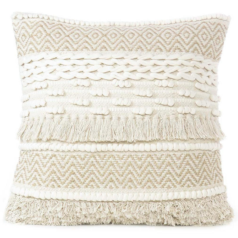 """Beige Cream Woven Textured Tufted Colorful Cushion Pillow Cover Fringe Sofa Couch Throw Accent - 20"""""""