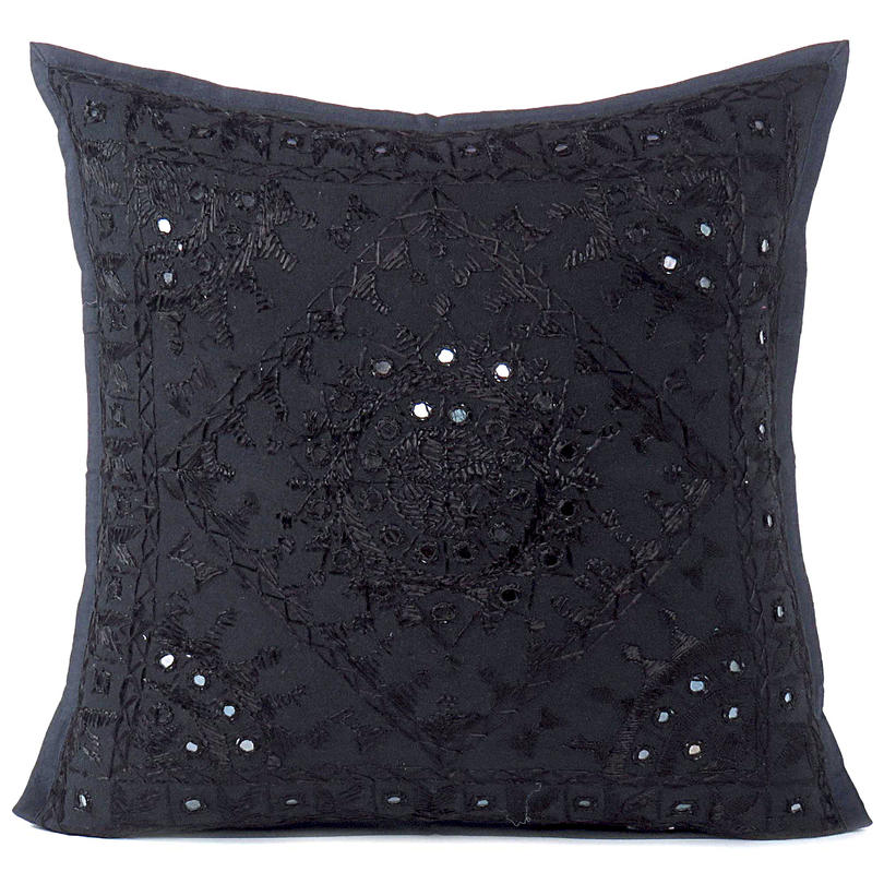 Black Mirror Embroidered Boho Colorful Decorative Sofa Throw Couch Pillow Cushion Cover - 16 to 24""