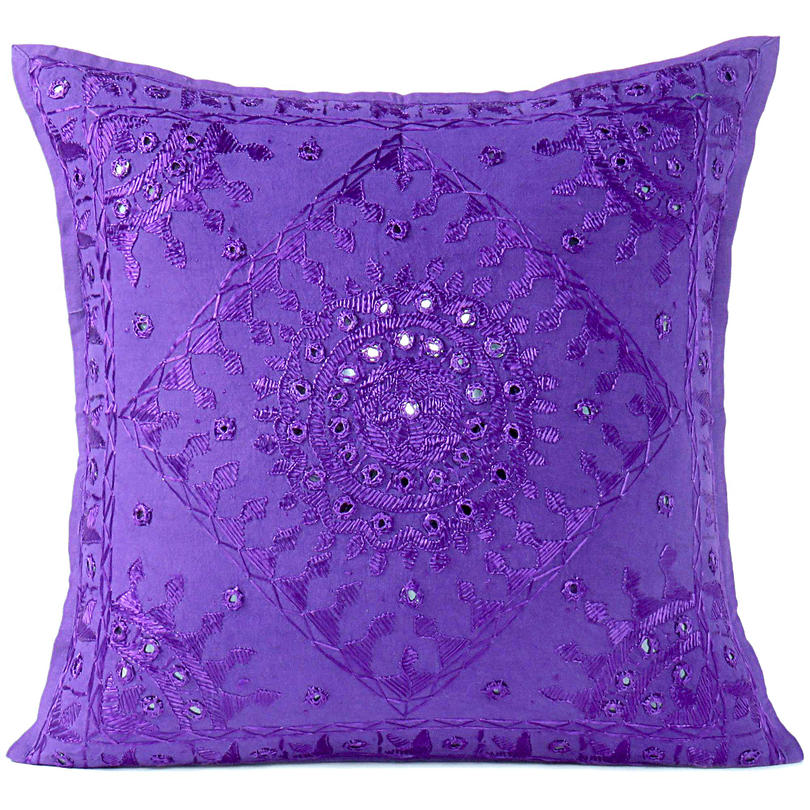 """Purple Violet Mirror Embroidered Boho Colorful Decorative Sofa Throw Couch Pillow Cushion Cover - 16 to 24"""""""