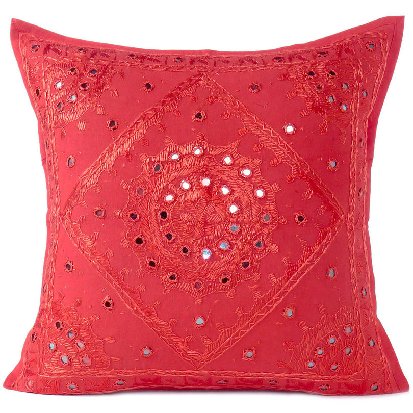"""Red Mirror Colorful Decorative Embroidered Sofa Throw Couch Pillow Bohemian Cushion Cover - 16 to 24"""""""