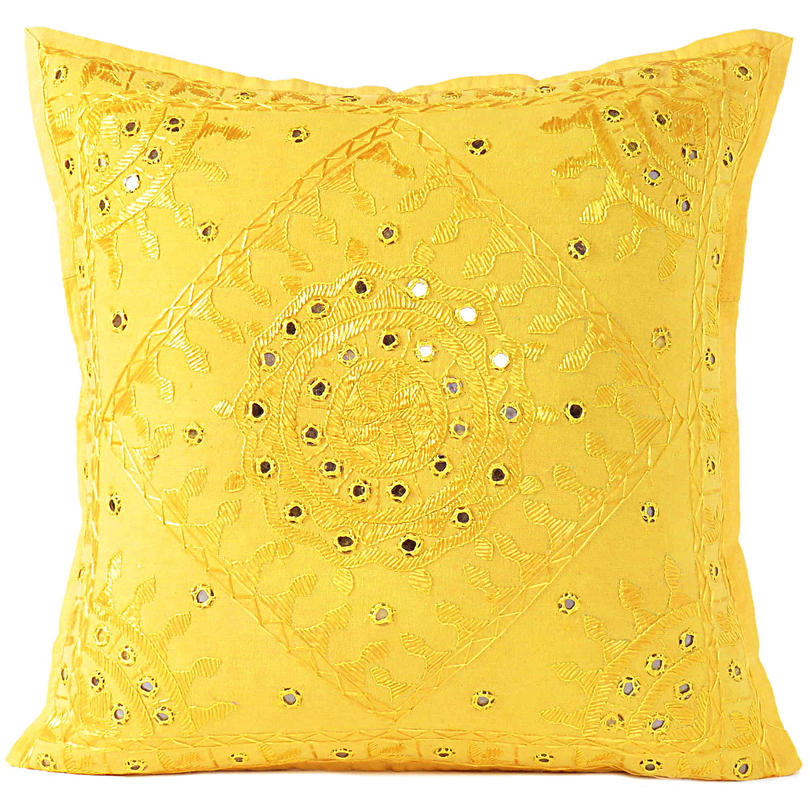 """Yellow Mirror Colorful Decorative Embroidered Sofa Throw Couch Pillow Bohemian Cushion Cover - 16 to 24"""""""