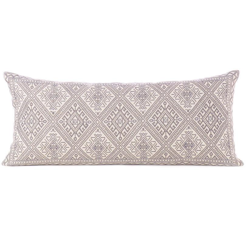 "Grey Cream Moroccan Bolster Long Lumbar Sofa Couch Pillow Cushion Cover - 14 X 32"""