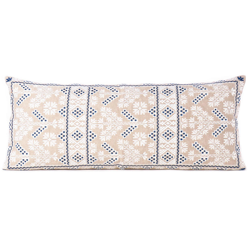 Cream Blue Moroccan Bolster Long Lumbar Sofa Couch Pillow Cushion Cover - 14 X 32""