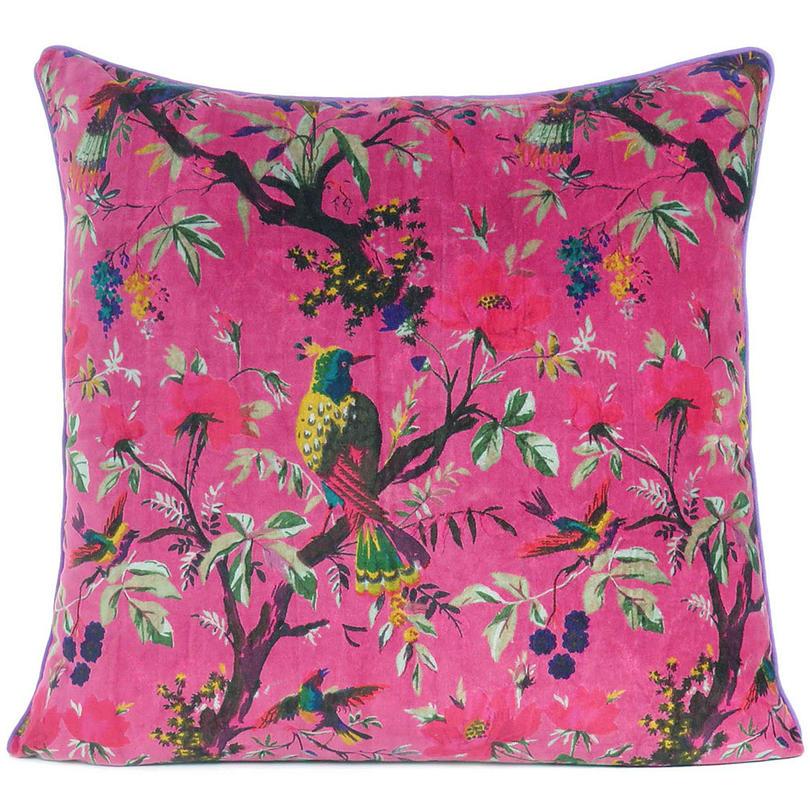 "Burgundy Red Velvet Colorful Decorative Bird Throw Sofa Cushion Boho Couch Pillow Cover - 16, 20"", 24"""