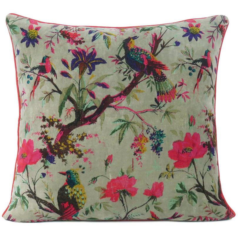 "Olive Velvet Colorful Decorative Bird Throw Sofa Cushion Boho Bohemian Couch Pillow Cover - 16"", 20"", 24"""