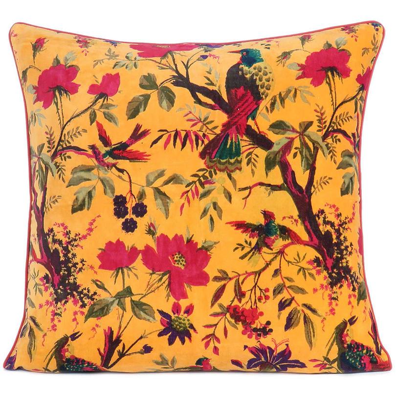 "Yellow Orange Velvet Colorful Decorative Bird Throw Sofa Cushion Boho Bohemian Couch Pillow Cover - 16"", 20"", 24"""