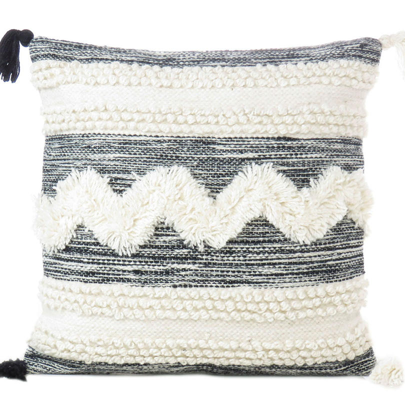 """White Black Colorful Tufted Colorful Wool Embroidered on Cotton Cushion Woven Fringe Pillow Sofa Throw Cover - 20"""""""