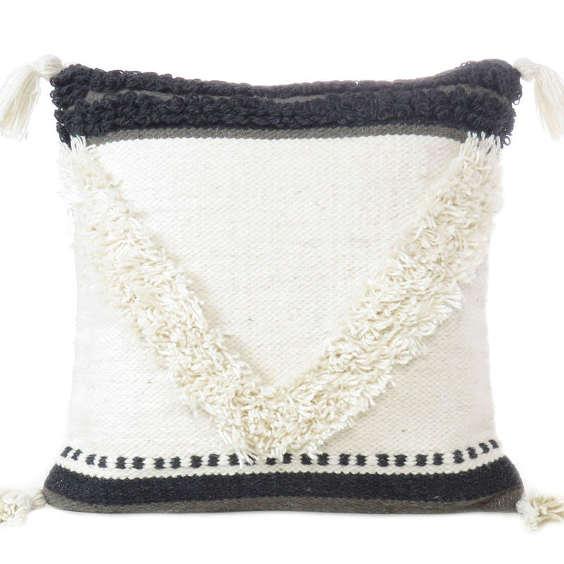 """White Black Tufted Woven Textured Fringe Pillow Sofa Throw Colorful Wool Embroidered on Cotton Cushion Cover - 20"""""""