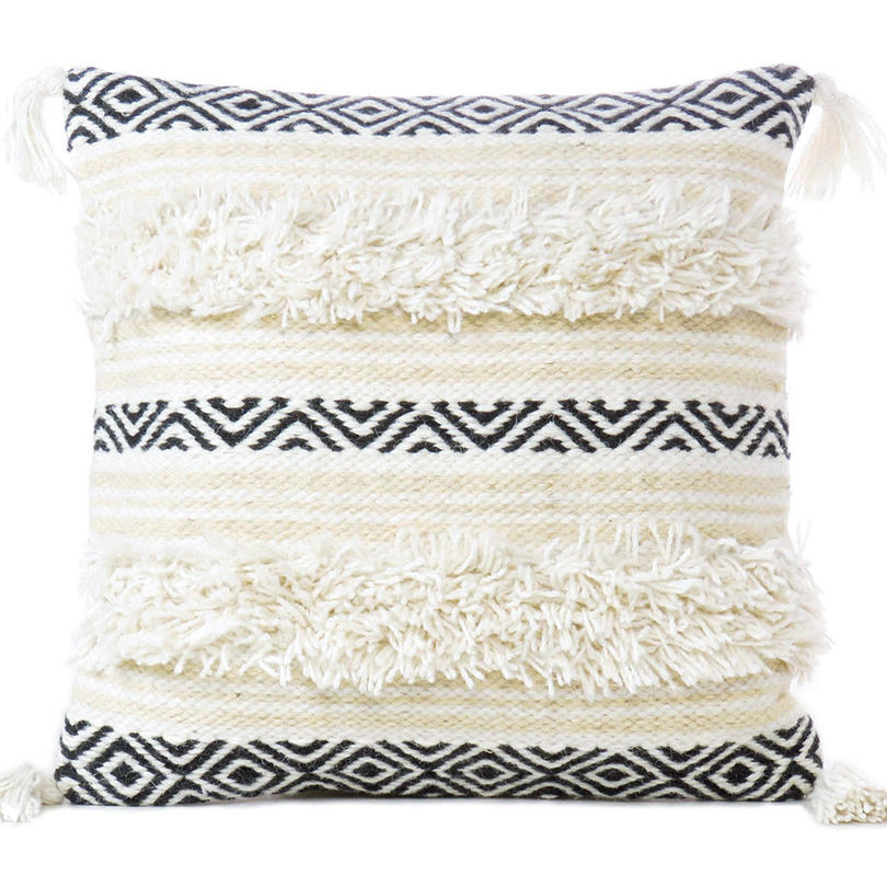 """White Black Decorative Fringe Pillow Sofa Throw Colorful Wool Embroidered on Cotton Cushion Tufted Cover - 20"""""""
