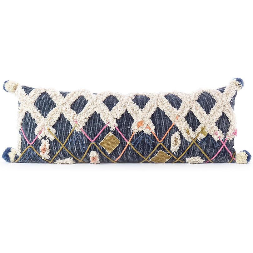 "Decorative Indigo Blue Boho Embroidered Fringe Tassel Pillow Cotton Cushion Cover Case Couch Sofa Throw - 12 X 32"""