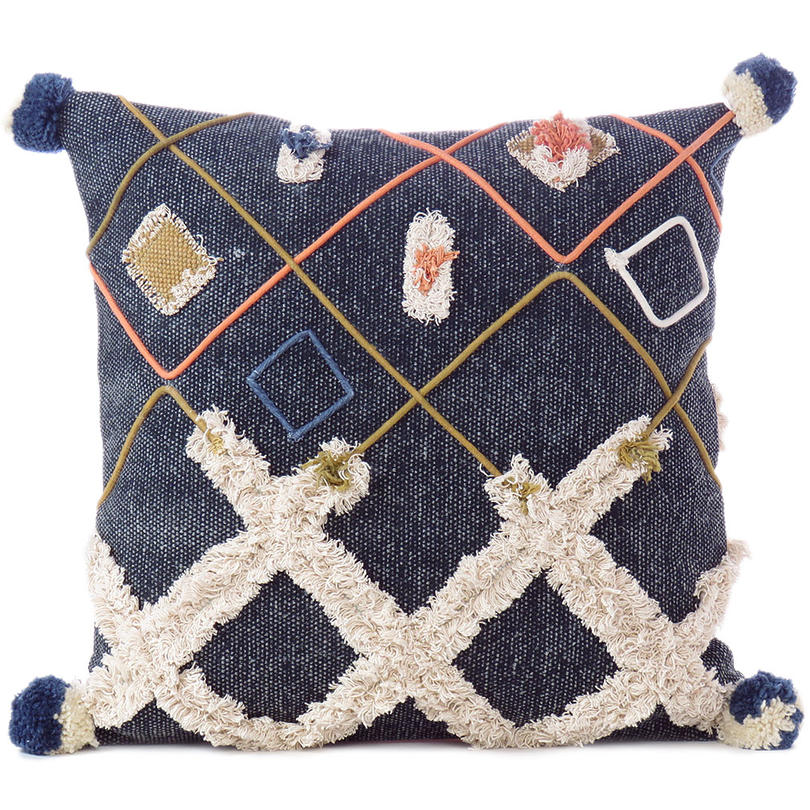 "Colorful Decorative Embroidered Boho Pillow Cover with Fringes, Tassel Cushion Cover - 20"", 12 X 32"""