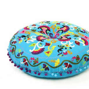 Blue Bohemian Round Embroidered Decorative Seating Floor Meditation Cushion Pillow Cover - 24""