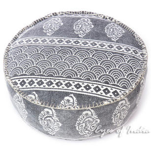 Black Gray Dhurrie Round Pouf Ottoman Cover Seating Bohemain Boho - 24 X 8""