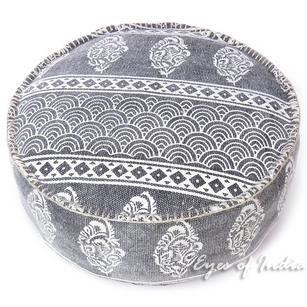 "Black Gray Dhurrie Round Pouf Ottoman Cover Seating Bohemain Boho - 24 X 8"""