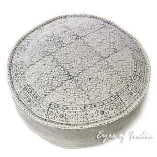 Gray Round Dhurrie Block Print Boho Ottoman Pouf Pouffe Floor Seating Cover - 24 X 8""