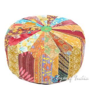 Large Kantha Round Pouf Pouffe Boho Bohemian Ottoman Cover