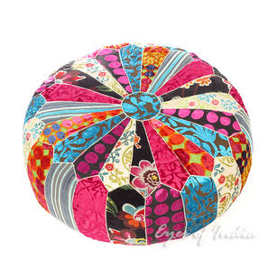 Pink Blue Small Boho Round Colorful Bohemian Velvet Ottoman Pouf Pouffe Cover Floor Seating - 20 X 8""